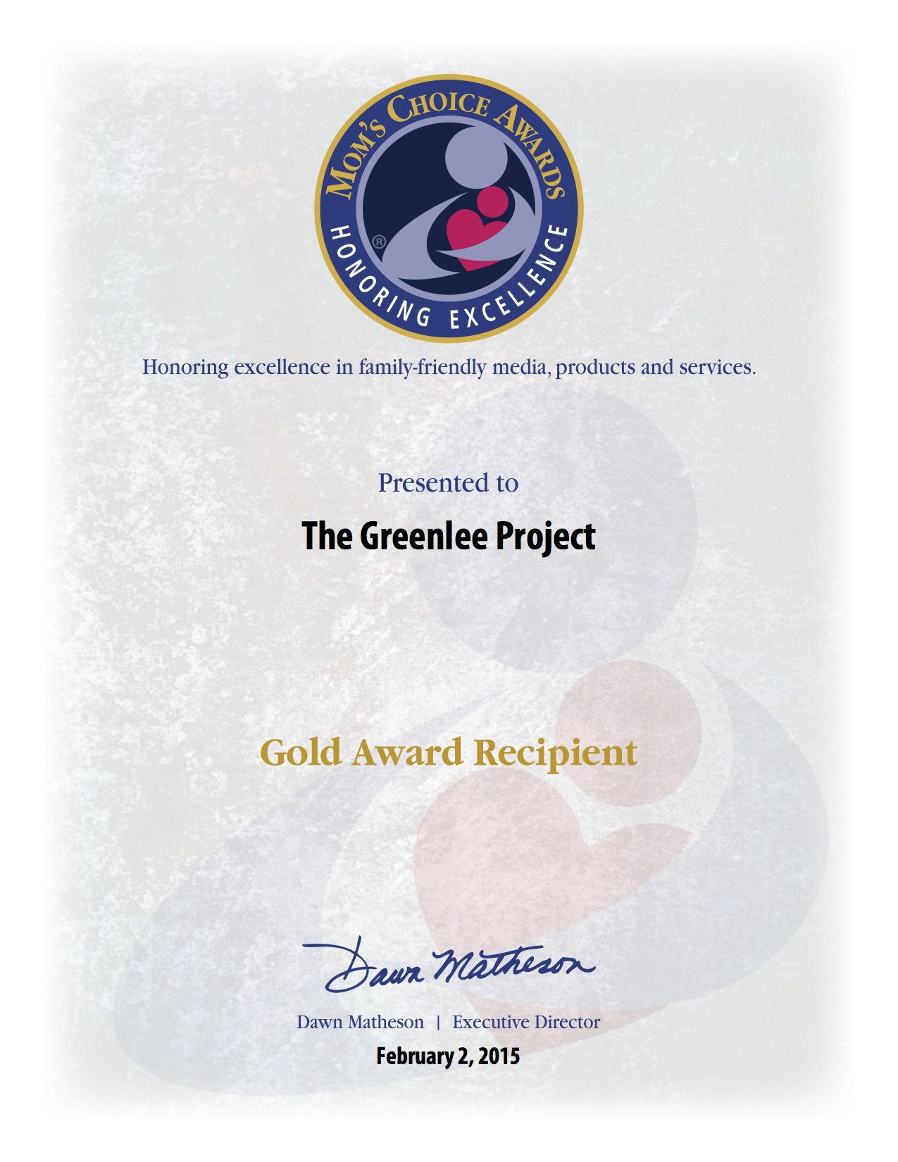 Mom's Choice Award 'The Greenlee Project'